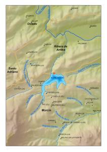 Situación del embalse de Los Alfilorios (Asturias)