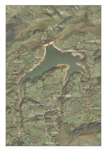 Vista aérea del embalse de Los Alfilorios (Asturias)
