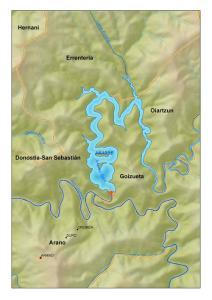 Situación del embalse de Añarbe (Navarra)