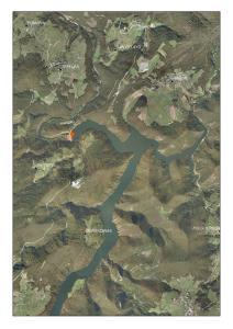 Vista aéreas del embalse de Arbón (Asturias)